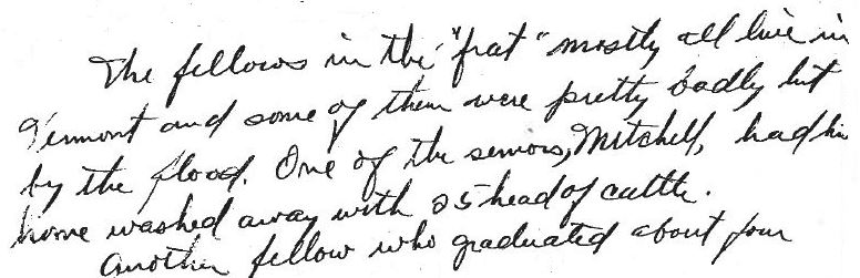 Quote from Allen Wheeler, UVM student during the flood of 1927.